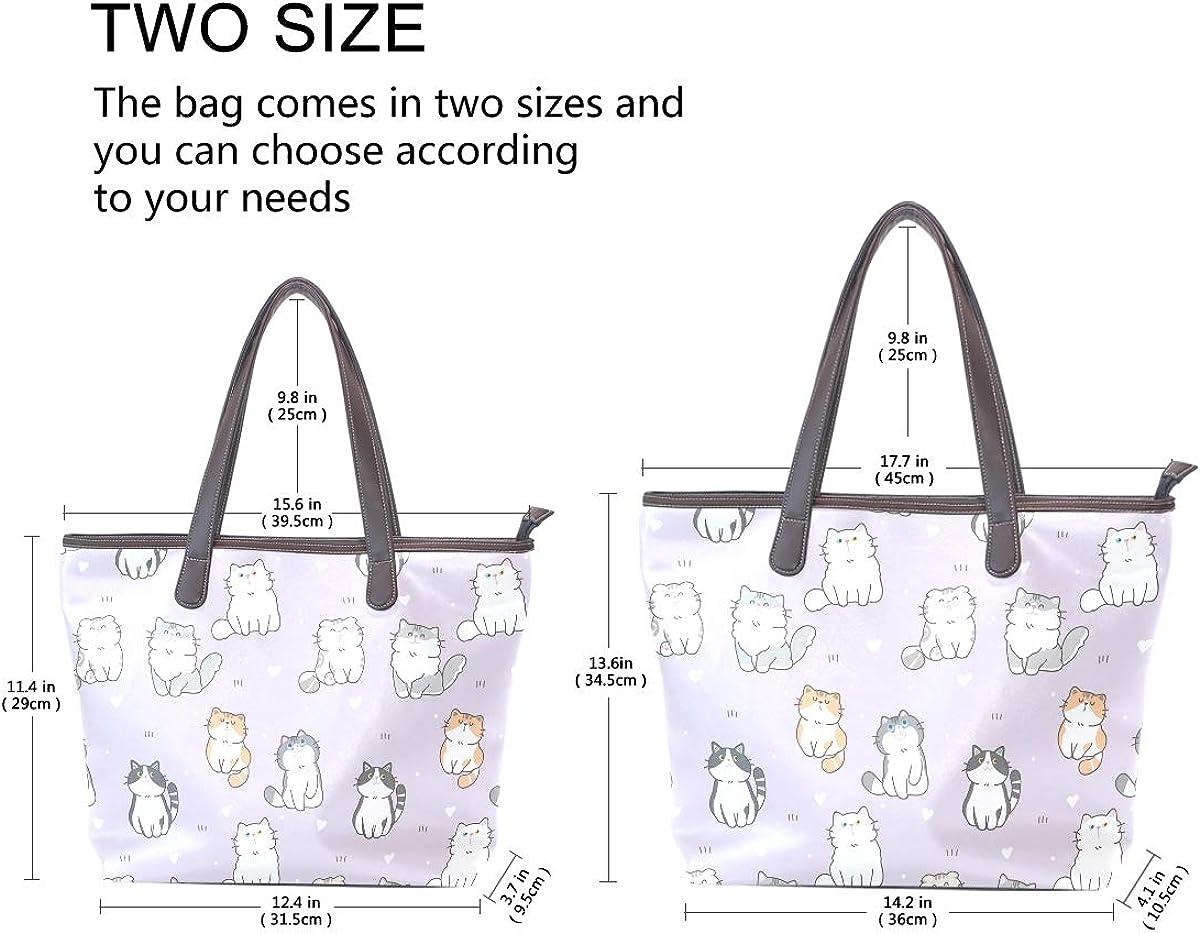 Qilmy Pink Cat Tote Bag Leather Handbag Purses Shoulder Bag for Women Girls