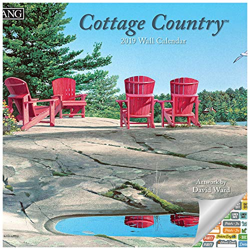 Lang Country Cottage Calendar 2019 Set - Deluxe 2019 David Ward Landscape Cottages Wall Calendar Bundle with Over 100 Calendar Stickers (Cottage Decor, Weekend Getaway Gifts)