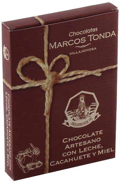 Chocolates Marcos Tonda Chocolate Artesano Leche con Cacahuete Miel y Sal - 6 Paquetes de 150