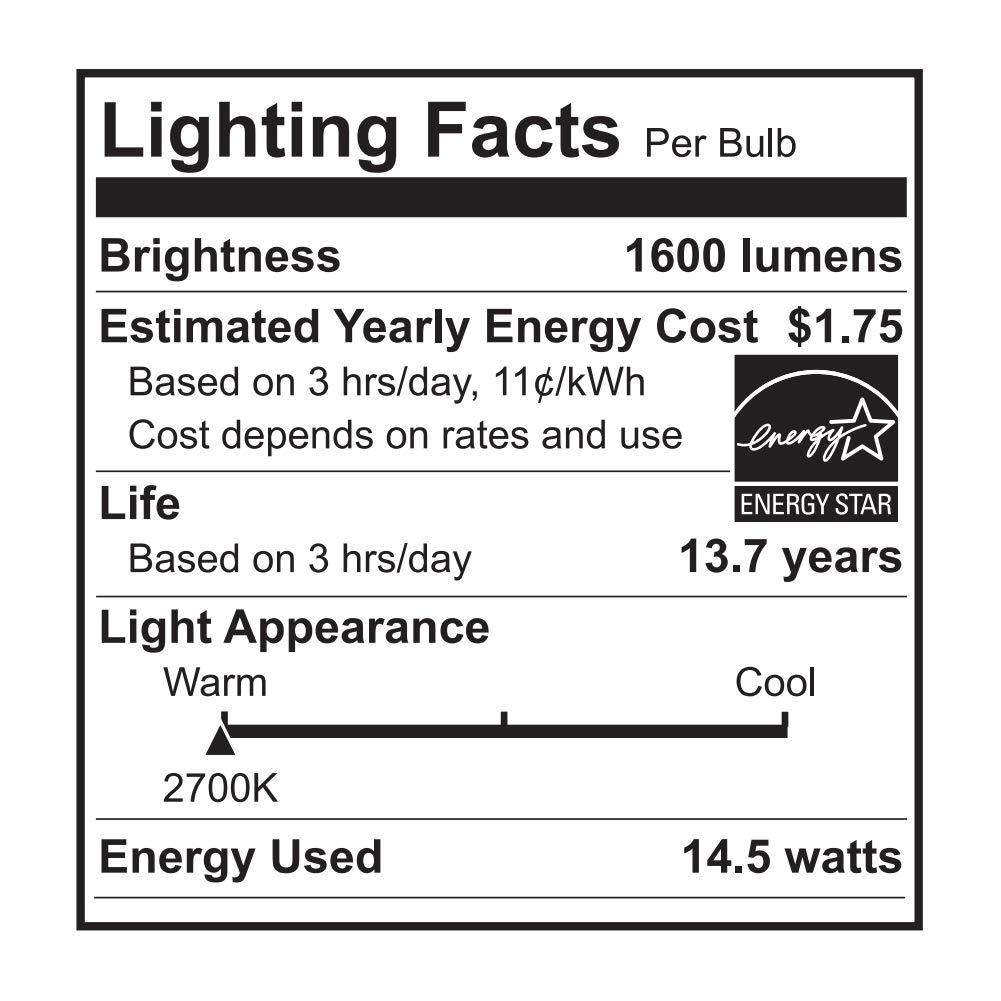 LED Light Bulbs YAMAO A19 100W Equivalent Light Bulb 1600LM 2700K Soft White Dimmable 14-Watt UL Listed/Energy Star Certified (2 Pack)