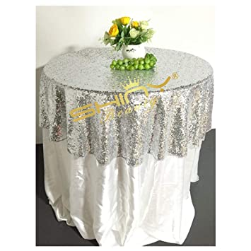 ef54817800db Image Unavailable. Image not available for. Color  48   Round Silver Sequin  Tablecloth