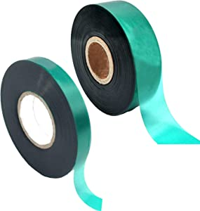 Medoore 2 Rolls 150 Feet Stretch Tie Tape 0.5/1 Inch Garden Tie Tape Thick Plant Ribbon Garden Green Vinyl Stake for Indoor Outdoor Patio Plant Use