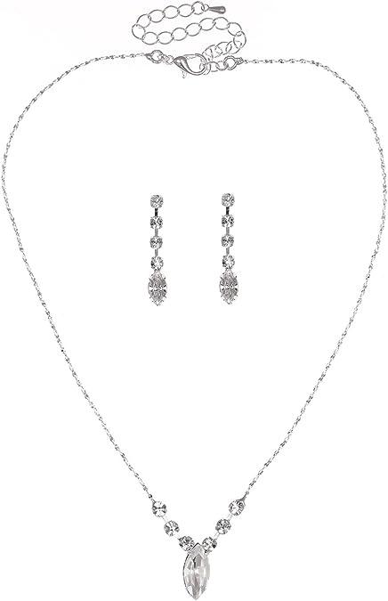 Simple nupcial Swarovski cristal perla collar conjunto Bridesmaids Regalo Joyas/'s