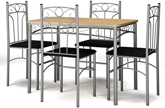 Faux Marble Table Top Modern Table and Chairs Set Include One Rectangular Table and Four High-Back Chairs Grey Metal Frame /& Padded Seat Tangkula Title 5 Piece Kitchen Dining Table Set