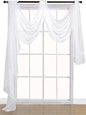 Premium White Sheer Scarves   Sheer Curtains   White Luxurious   54 By 216  Inches