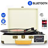 DIGITNOW! Record Player, Turntable Suitcase with Multi-function Bluetooth/FM Radio/USB and SD Card Port/Vinyl to MP3 Converter