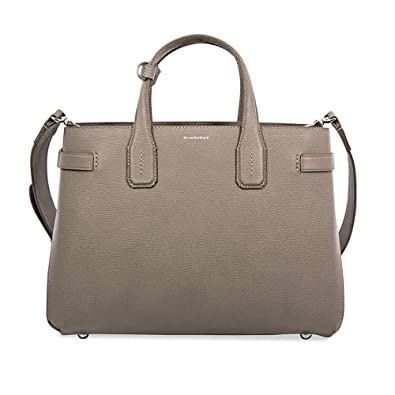a6831c5d8fd Amazon.com: Burberry Women's Taupe Leather Banner Check Derby Tote Bag  Handbag: Shoes