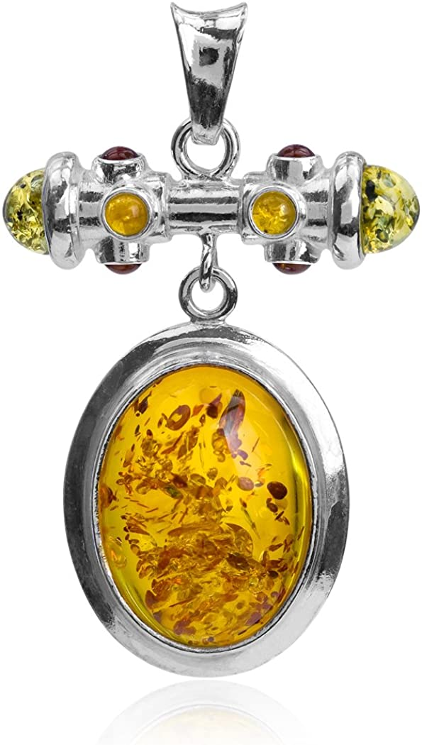 Multicolor Amber Sterling Silver Oval Pendant
