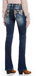 Miss Me Womens Embellished Border Trim Bootcut Jeans in Dark Blue