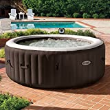 Intex PureSpa 4Person Inflatable Bubble Jet Spa Portable Heated Hot Tub, Brown