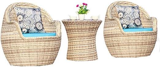 HUANHUANLELE Juego de 3 Piezas Juegos de jardín Muebles de Exterior Muebles de jardín de ratán Muebles de Patio 1 Mesa + 2 sillas Balcón: Amazon.es: Hogar