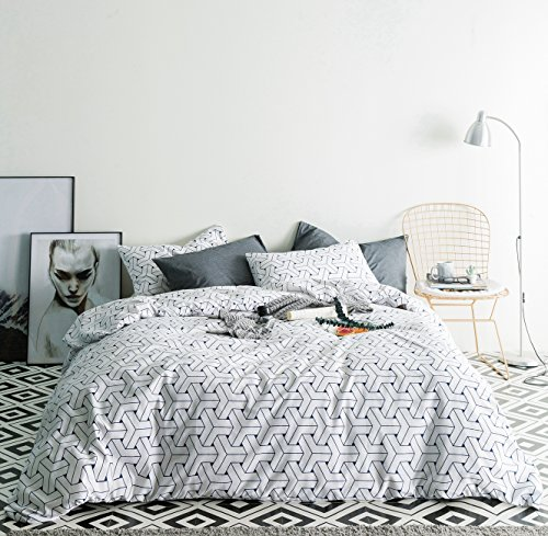 SUSYBAO 3 Pieces Duvet Cover Set 100% Natural Cotton Queen S