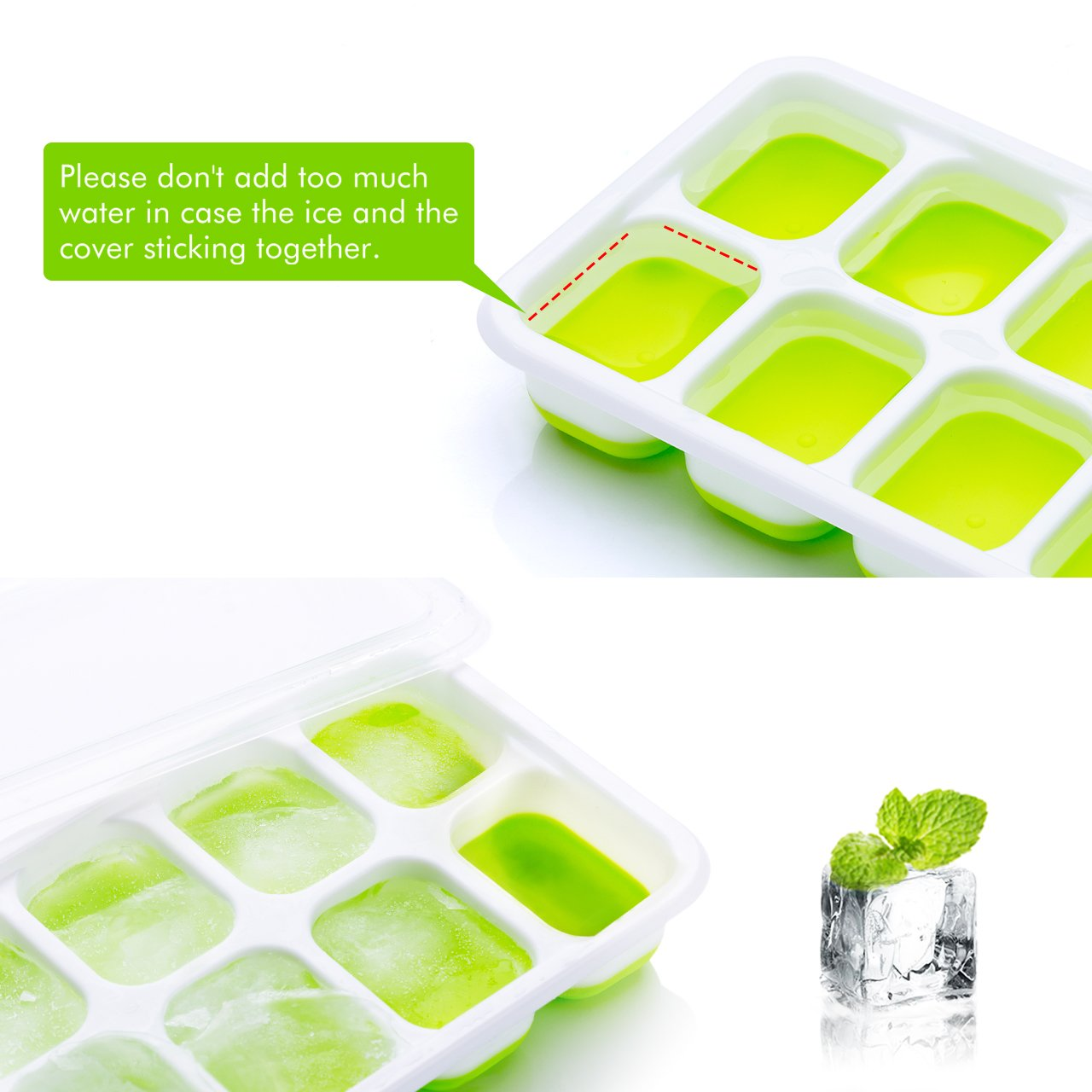 Stackable Durable and Dishwasher Safe Easy-Release Silicone and Flexible 14-Ice Trays with Spill-Resistant Removable Lid LFGB Certified and BPA Free OMorc Ice Cube Trays 4 Pack