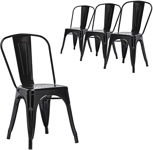 Metal Dining Chairs Indoor Outdoor Patio Chairs Stackable Kitchen Tolix Bar Cafe Side Metal Chair