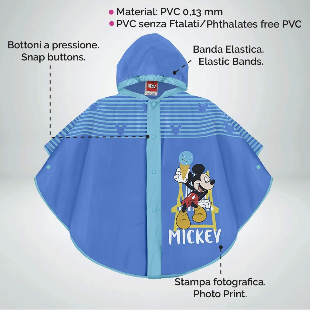 Perletti Disney Micky Maus Regen Poncho f/ür Kinder Mickey Mouse Wasserdicht Regenmantel Jungen Regencape mit Kapuze und Kn/öpfe Blau