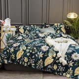 Purple and Teal Duvet Cover Softta Floral Duvet Cover Queen Bedding Set 3Pcs Vintage Ruffle Tropical Plam Leaves Girls Shabby Chic Duvet Covers Teal Purple Yellow Colorful 100% Egyptian Cotton 800 TC Hidden Zipper Closure