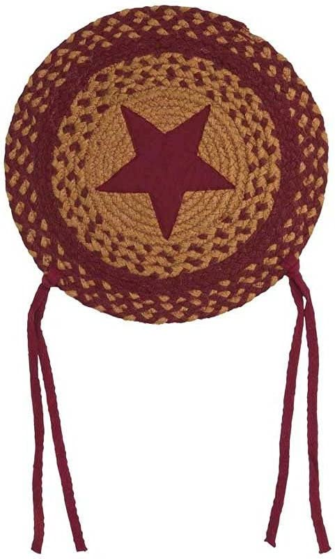IHF Home Decor Braided Rug Round Chair Seat Covers Dining Room, Kitchen, Office, | Star Wine Design | Jute Natural Fiber 15 Inch - Set of 4