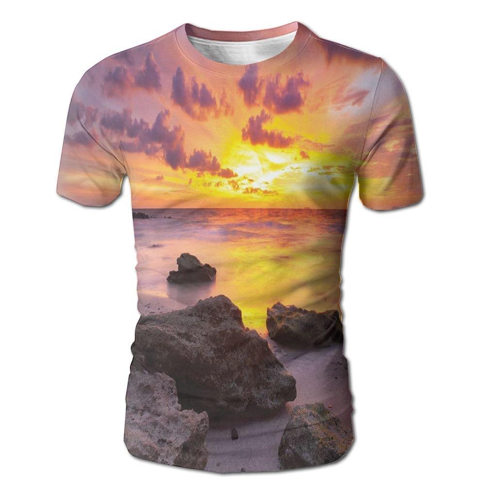 Edgar John Sunset at The Beach Horizon On Island Magical Idyllic Weather Landscape Men's Short Sleeve Tshirt XXL