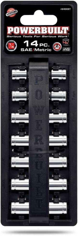 "Socket Set 1//4/"" DRIVE SAE Powerbuilt 640497 M 11Pc"