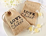 CheckMineout 24Pcs LOVE IS SWEET Hessian Burlap Drawstring Bags Rustic Wedding Favors Party Gift Candy Boxes