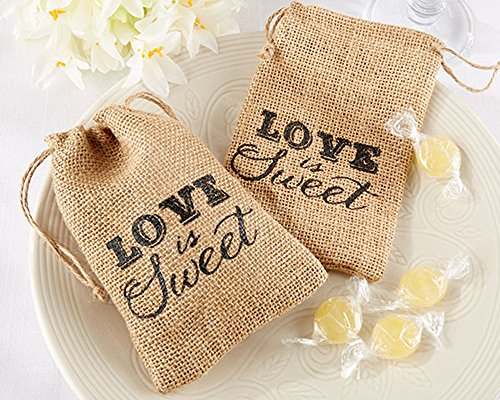 CheckMineout 24Pcs LOVE IS SWEET Hessian Burlap Drawstring Bags Rustic Wedding Favors Party Gift Candy Boxes by CheckMineOut