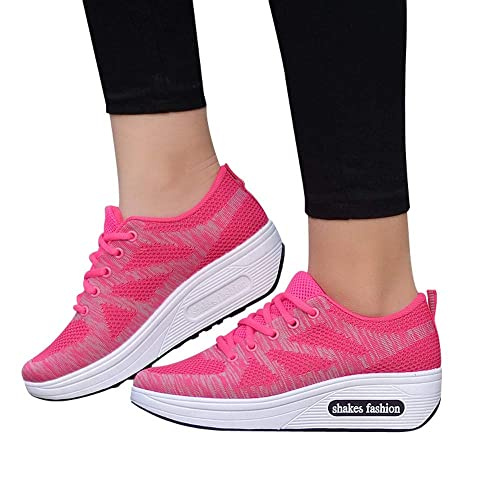 0388a24686e0 Amiley Clearance Sale Autumn Women Flying Woven Mesh Casual Sports Shoes  Thick Soled Rocking Shoes Sneakers
