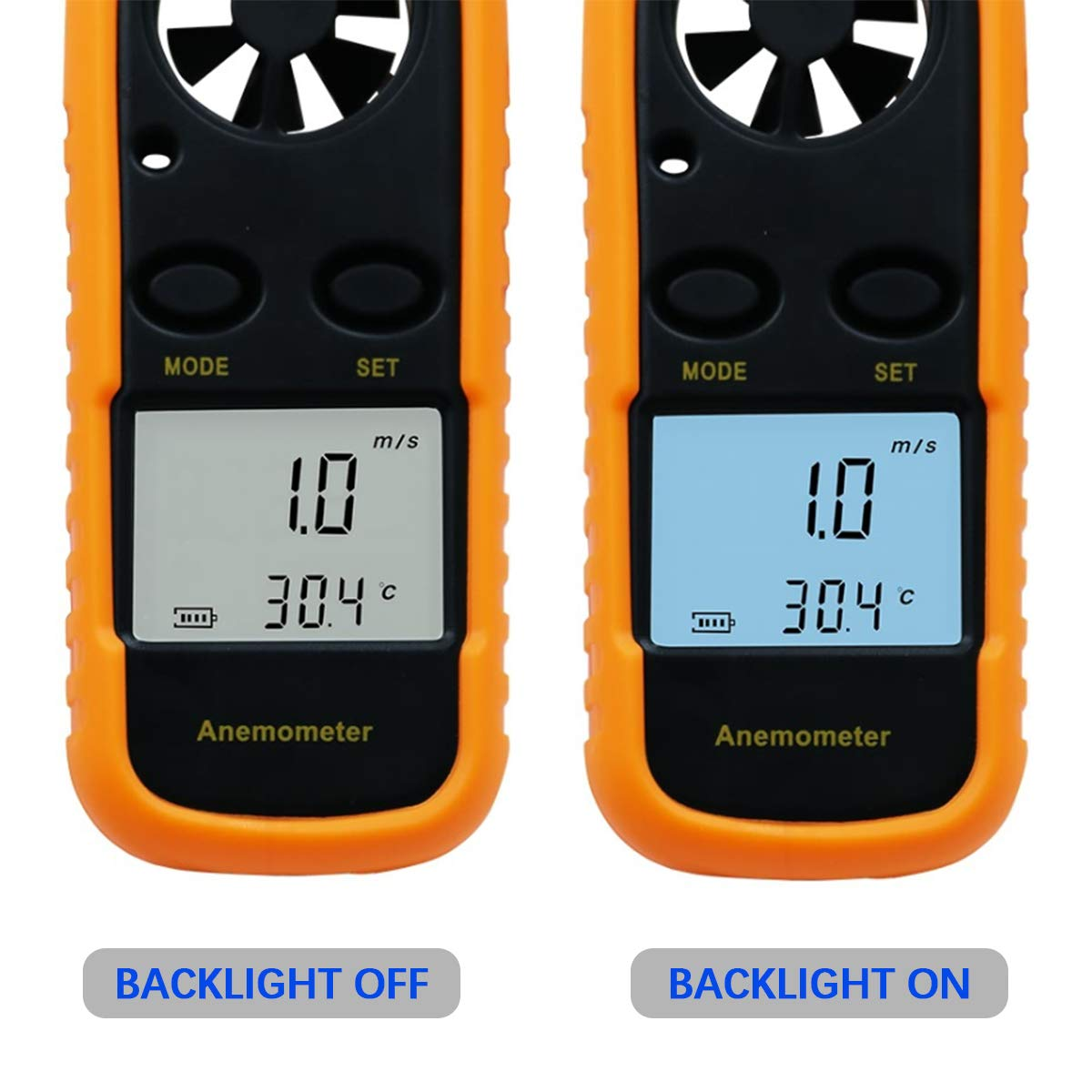 Anemometer Kite Flying Digital LCD Wind Speed Meter Gauge Air Flow Velocity Measurement Thermometer with Backlight for Windsurfing Surfing Fishing Etc,Battery Included Sailing