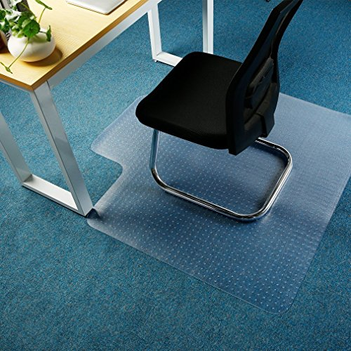 Office Premium Chair Mat Carpet Protection Mat,Studded,Clear,Rectangular Shaped (47 x 47 inches, Rectangular with Lip) by ICOCO