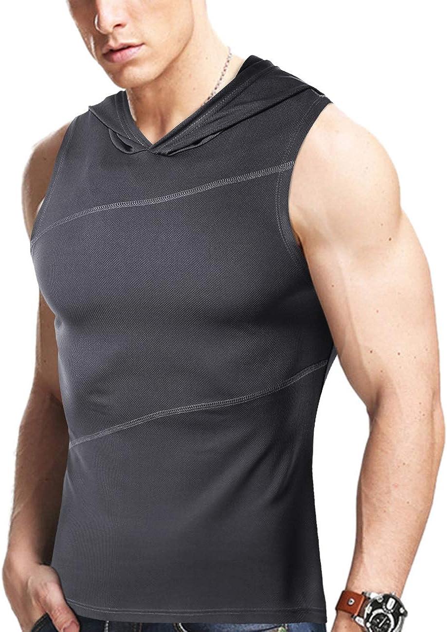 Superora - Camiseta sin mangas para hombre, con capucha, para entrenamiento, deportes, sin mangas, culturismo, musculatura, secado rápido, con capucha, para correr: Amazon.es: Ropa y accesorios