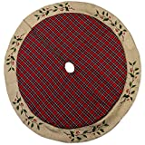 56 inch Red Plaid with Embroidered Holly Leaves Cotton Christmas Tree Skirt