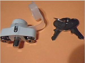 TNS STORE Hurricane Shutter Lock, Hi Velocity Lock Kit, Accordion Shutter Hardware, White