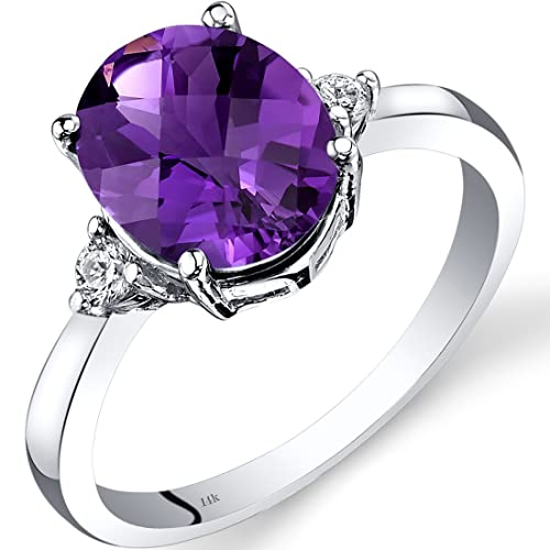Peora 14K White Gold Amethyst Diamond Ring 2.00 Carat Oval Cut
