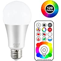 Jayool 10W E27 120 Multi Colours RGBW Colour Changing LED Light Bulb, Edison Screw Remote Control Bulb and Timing, RGB+Daylight White (6500K)-3rd Generation (1 Pack)