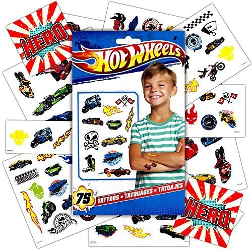 Hot Wheels Tattoos Party Favor Pack -- 75 Temporary Tattoos Featuring Race Car Designs (Wheels Stickers Cars Hot)