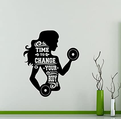 Gym Wall Decal Time To Change Your Body Girl Motivational Quote Fitness Vinyl Sticker Home Sport