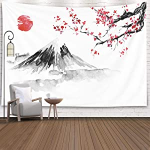 Jesmacti Tapestry Bedroom Decor for Women Cherry Blossom Traditional Painting Fuji Mountain Sakura Sunset Sun Ink Japanese Picture Sumie Japanese Wall Art Asian Wall Decor Floral Tapestry 60X60Inches