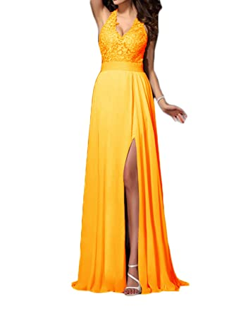 Udresses Womens Sexy Split Prom Dresses 2018 Long Lace V-Neck Party Dress  PO18 Dark b75f28f181a5