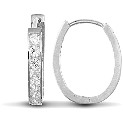9943cc83eac13 Jewelco London Ladies Solid 9ct White Gold White Round Brilliant Cubic  Zirconia Oval Huggie Hoop Earrings