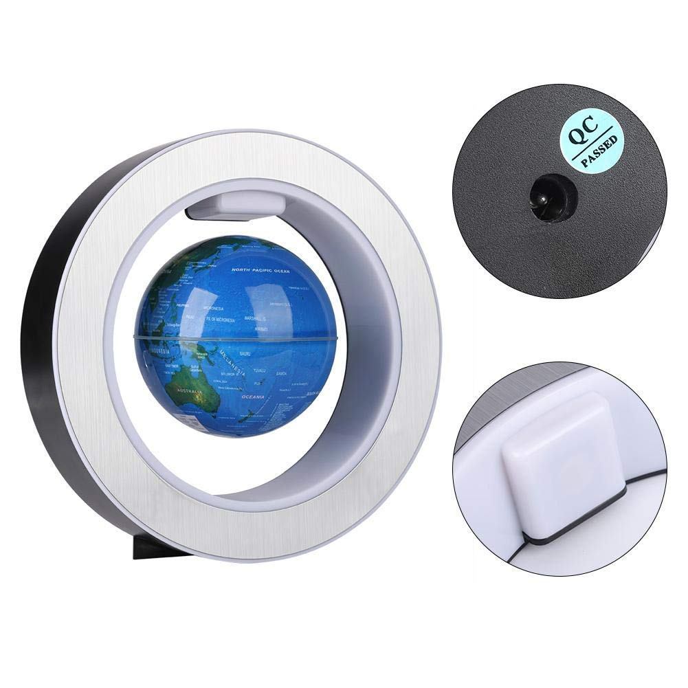 Magnetic Floating Map Globe with Round Socket, 4'' Rotating Planet Earth Globe Ball Anti Gravity LED Light Lamp- Educational Gifts for Kids, Home Office Desk Decoration,Business Gift(Blue) by WanTang (Image #4)