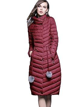 Queen Shiny® Mujer Long Chaqueta de plumón abrigo de invierno, color rojo, tamaño 34: Amazon.es: Deportes y aire libre