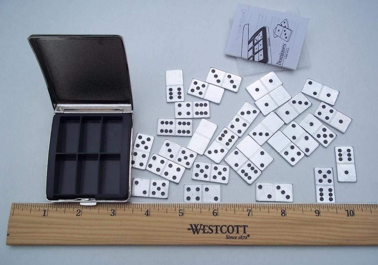 Metal Miniature Dominoes Set w/Metal Travel Case
