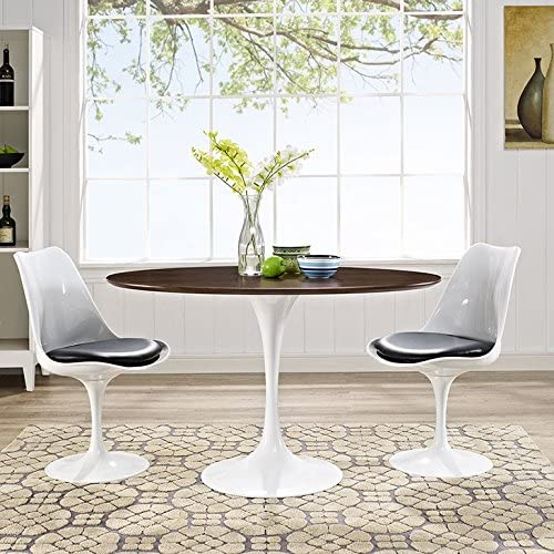 Modway Lippa Mid-Century Modern Walnut 48 Oval Dining Table, White Base