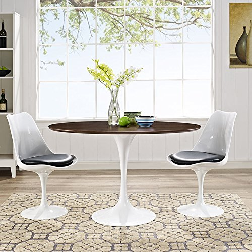 Modway Lippa Mid-Century Modern Walnut 48 Oval Dining Table, White Base