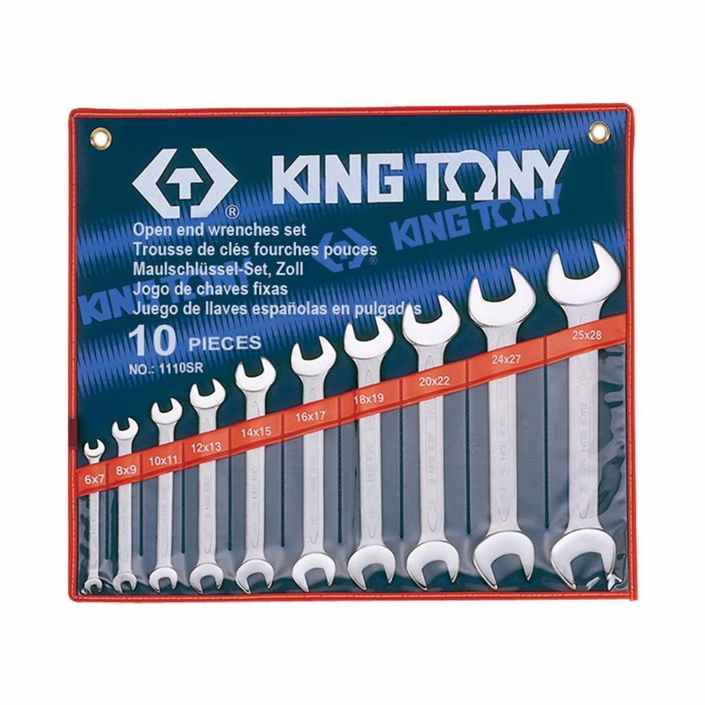 King T. 1110SR Kit di chiavi a forchetta, Set da 10