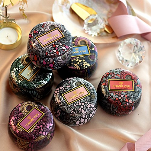 BERTERI Metal Round Tins 6PC Candle Tins Gift Containers, Great for Party Favors, Gels, Creams, Crafts, Candies and Gifts(Color ()