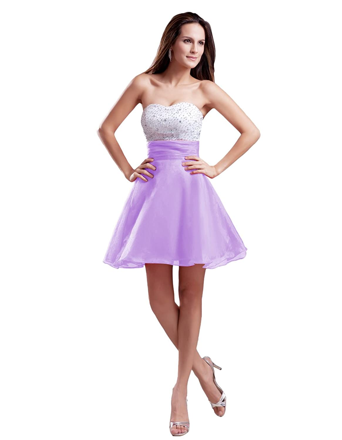 Diyouth Short Sexy Chiffon Party Homecoming Dress with Sequins Bodice