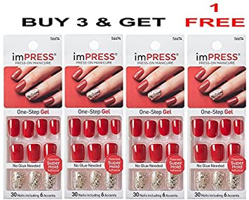 **FREE OFFER** KISS imPRESS TWEETHEART 2x Longer Lasting Short Nails by Broadway Press-On Manicure Nails (BUY 3 GET 1 FREE) by Broadway: Amazon.es: Belleza