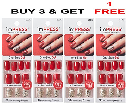 **FREE OFFER** KISS imPRESS ''TWEETHEART'' 2x Longer Lasting Short Nails by Broadway Press-On Manicure Nails (BUY 3 GET 1 FREE) by Broadway