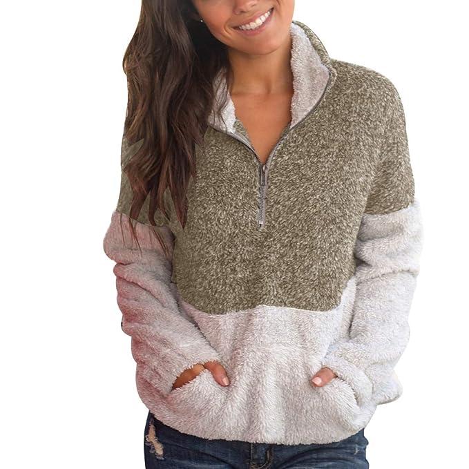 Yuanu Mujer Colores Mezclados Manga Larga Cuello Alto Sweater Pullover 1/4 Cremallera Frontal Canguro Bolsillo Imitacion Pelo Sudaderas Tops: Amazon.es: ...