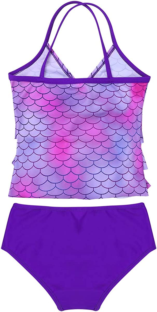 dPois Kids Girls 2PCS Tankini Bikini Sets Mermaid Scales Camisole V-Neck Top with Bottoms Swimsuit Swimwear Bathing Suit